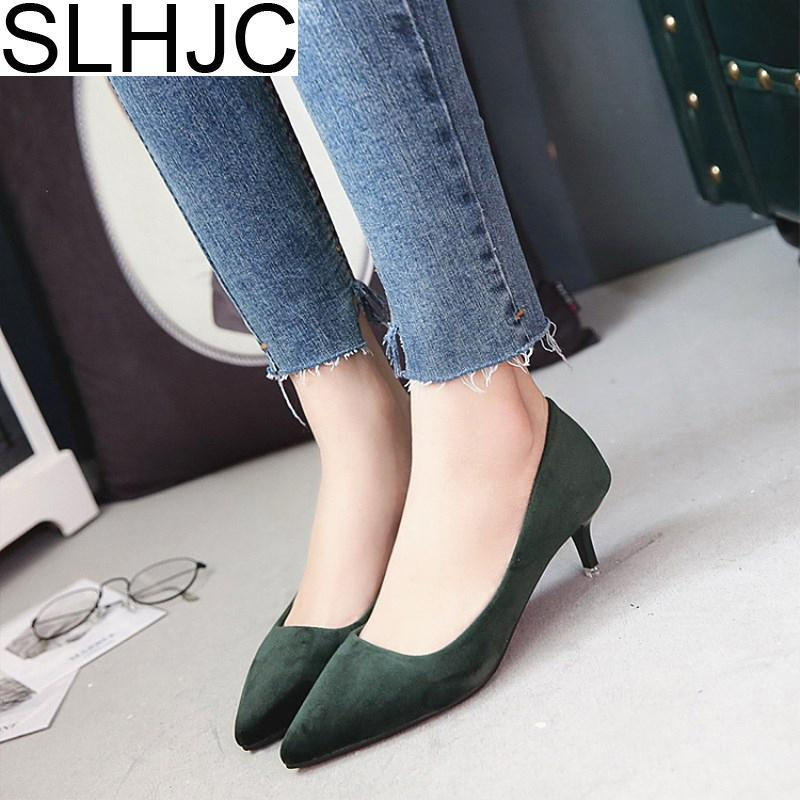 Designer Dress Shoes SLHJC 5.5 CM Med Heel Pointed Toe Shallow Mouth Women Spring New Low Heel Pumps 2019 Summer Lady OL Work