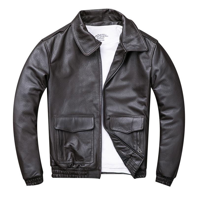 e5b7c63db 2019 2019 Dark Brown Men USAF Pilot Leather Jacket Plus Size 4XL Genuine  Sheepskin Russian Spring Aviator Leather Coat From Combocai, $521.31 |  DHgate.Com