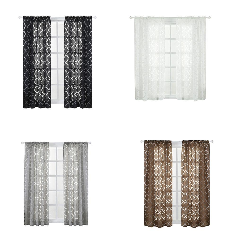 Lantern Geometry Window Curtains Sitting Room Tulle Curtain Door Balcony Lifting Sheer Valance