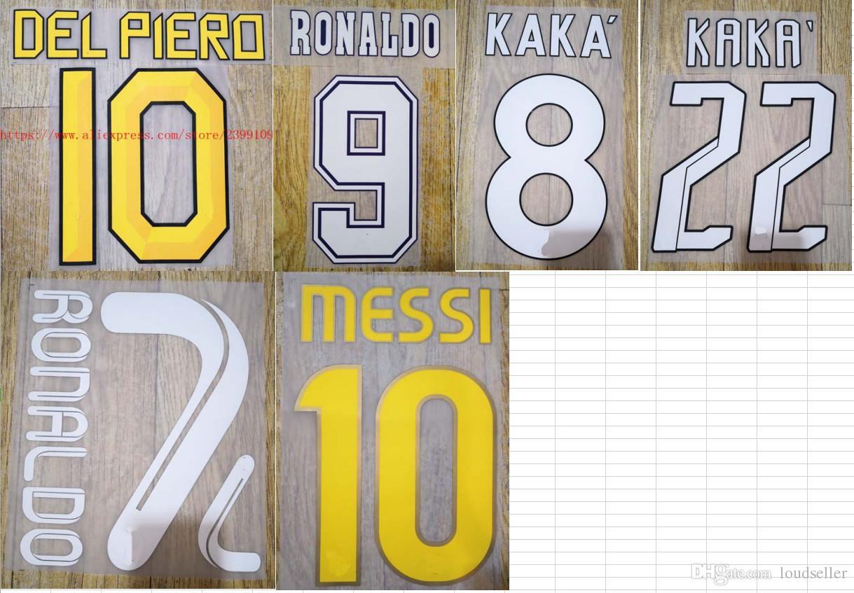96-97 07-08 08-09 10-11 11-12 DEL PIERO MESSI RONALDO KAKA stoitchkov name  numbering nameset soccer patch soccer badge