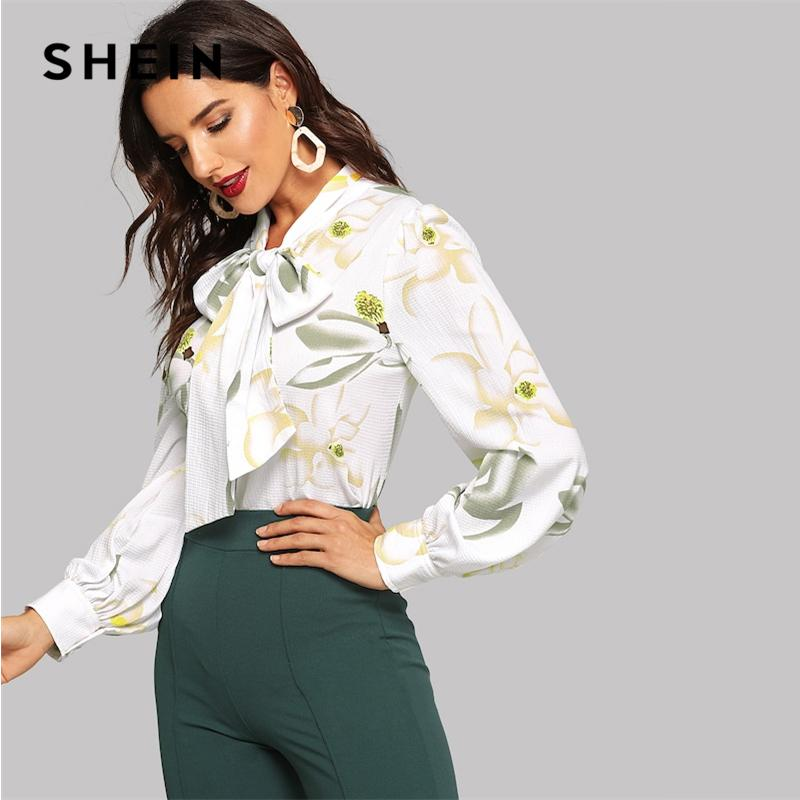 bc04b7b4db 2019 Shein White Tie Neck Floral Textured Top Women 2019 Spring Modern Lady Long  Sleeve Elegant V Neck Minimalist Tops And Blouses Q190416 From Yizhan05, ...