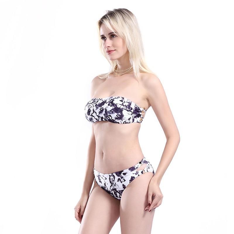 cb460f9358 Acquista Costumi Da Bagno Estivi Swimwear Da Donna Costumi Da Bagno Interi  Da Donna A Due Pezzi Bikini Con Stampa In Bianco E Nero Costume Da Bagno  Sexy A ...