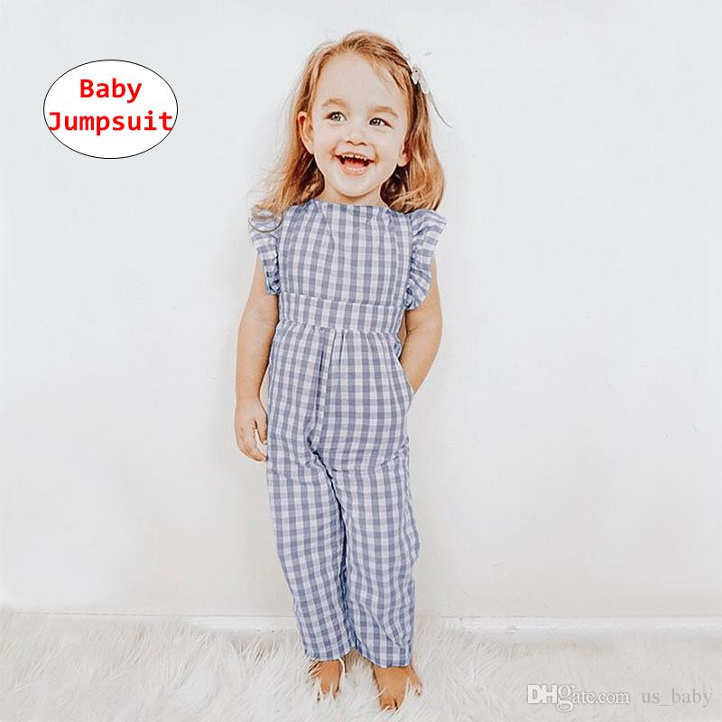 1a3e691d90e 2019 Toddler Girl Jumpsuit Kids Plaid Print Romper Designer Onesie Baby  Summer Autumn Fly Sleeve Jumpsuits For 0 5T From Us baby