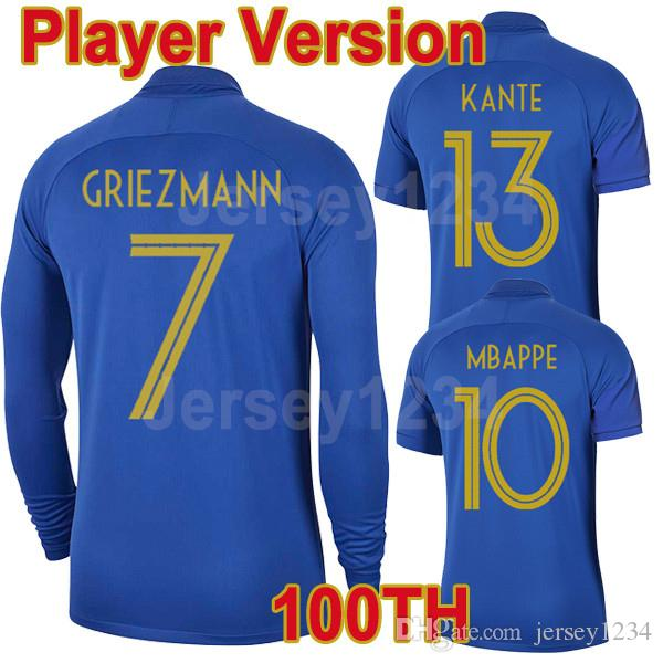 san francisco fda71 4b43b Player version 100th long sleeve jersey MBAPPE centenary jersey 2019  GRIEZMANN POGBA Centenaire Maillot 2019 football jersey