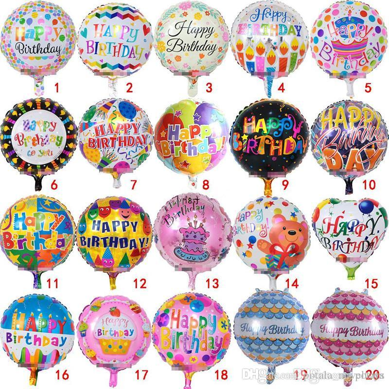 18Inch Inflatable Happy Birthday Balloons Party Round Ballons Decorations Bubble Helium Foil Balloon Kids Baloons Toys Supplies 18 Send