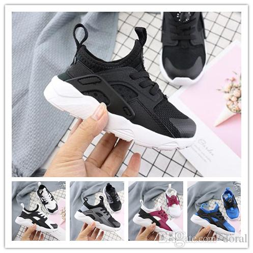 0560a01ddc2 2019 Cute Kids Air Huarache Sneakers Shoes For Boys Girl Authentic All  White Children S Trainers Huaraches Sport Running Shoes Size 28 35 Girls  Sports Shoe ...