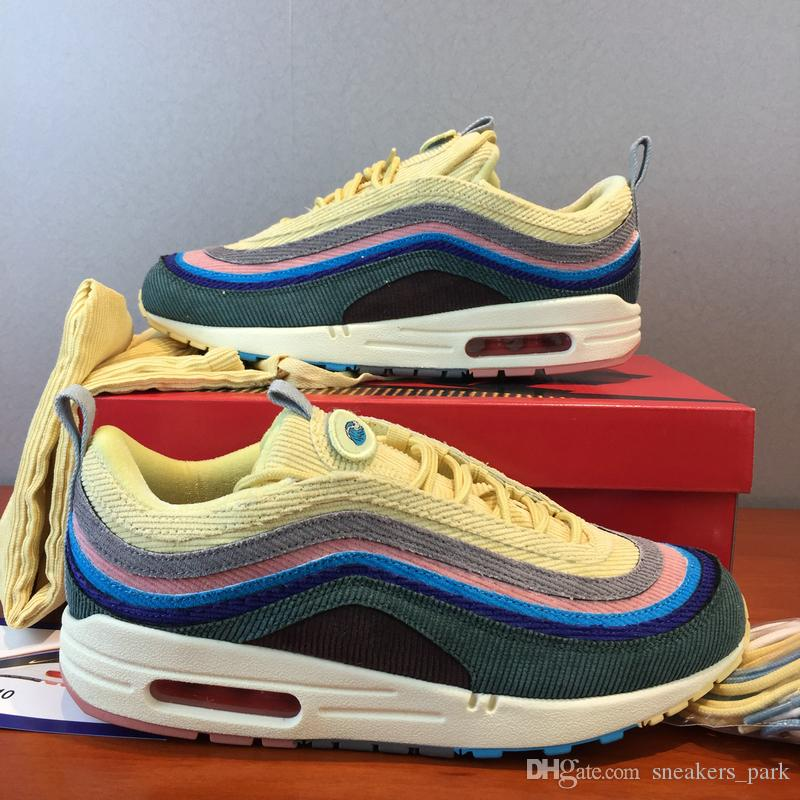 outlet store sale fa1f4 fb3d3 New 97 Sean Wotherspoon Designer Sneakers 97s SW Multi Yellow Blue Hybrid  Running Shoes Mens Womens Sport Shoes 36-45