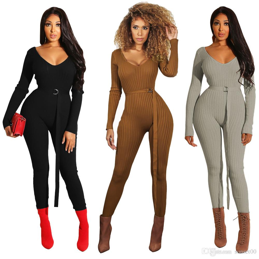 5609991ddb 2019 Fashion Tight Rompers Slim Fit Ladies Sexy Backless Jumpsuit V Neck  Long Sleeve Jumpsuit With Belt From Sunset00