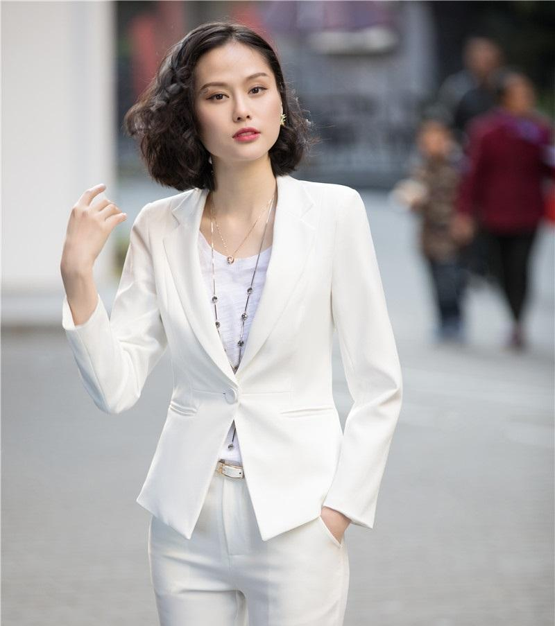 5a634202a4d1 2019 Spring Fall Fashion White Blazers Women Jackets Long Sleeve Ladies  Work Wear Business Clothes Office Uniform Design Style From Hongyeli