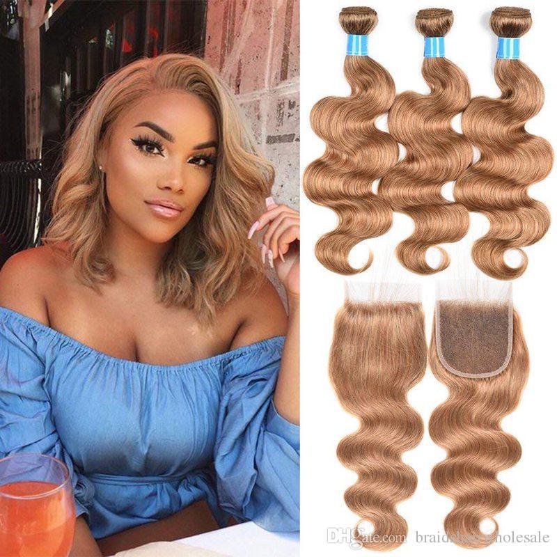 Brazilian Bundles With Closure #27 Honey Blonde Color Human Hair Weave 3 Bundles Curly Hair Extensions With 4x4 Lace Closure Human Hair Weaves Hair Extensions & Wigs