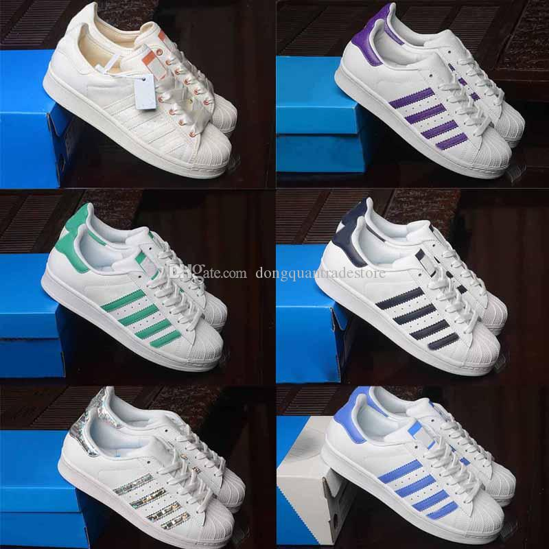 Superstar White Hologram Iridescent Junior Gold Superstars Sneakers Super Star Mujeres Hombres Deporte Zapatos casuales 36-45
