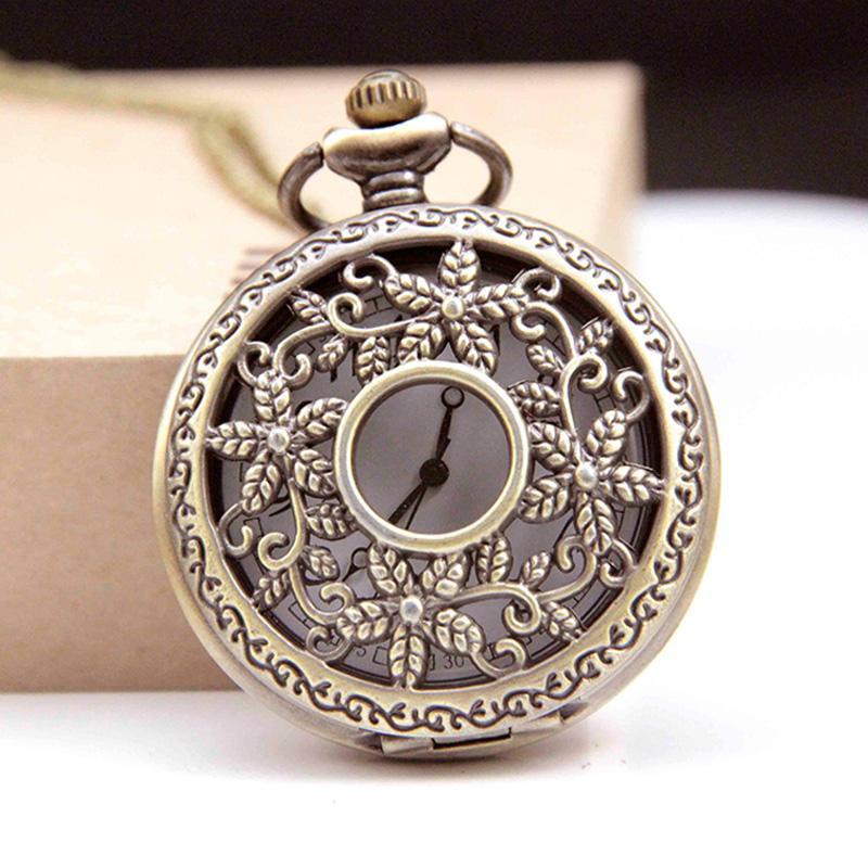 6bf4f73f6 Lace Flower Steampunk Quartz Pocket Watch Necklace Pendant Bronze ...