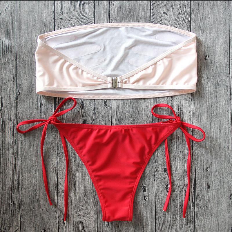 Straplez Push Up Sütyen Bikini Seti Eller Baskılı Mayo Mayo sayesinde 2019 Vintage Bikini Seti Bayan Mesh Şeffaf bakın