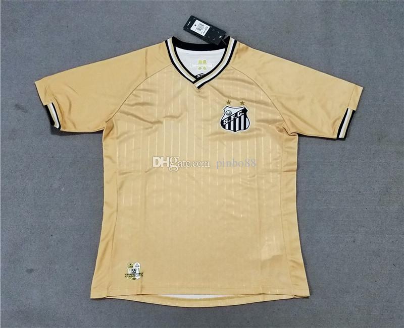 size 40 dcd28 1066a 2019 Santos second away gold soccer jersey 18 19 SFG Brazilian league  football uniform Santos Futebol Clube soccer football shirt