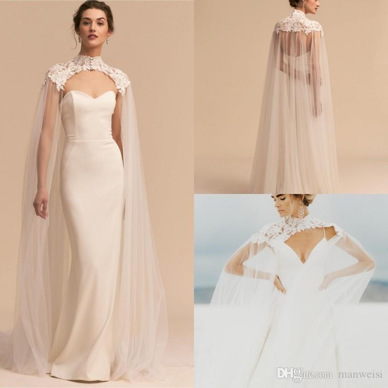 5ef4f692fa39 2019 Newest Tulle Long High Neck Wedding Cape Lace Jacket Bolero Wrap White  Ivory Women Bridal Accessories Custom Made From Manweisi, $29.4   DHgate.Com