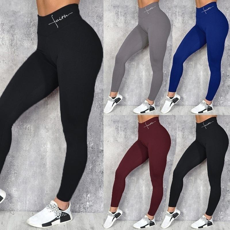 Women High Waist Letters Printed Leggings Sexy Elastic Waist Legging Lady Lulu Leggings Sports Pants Sexy Yoga Trousers