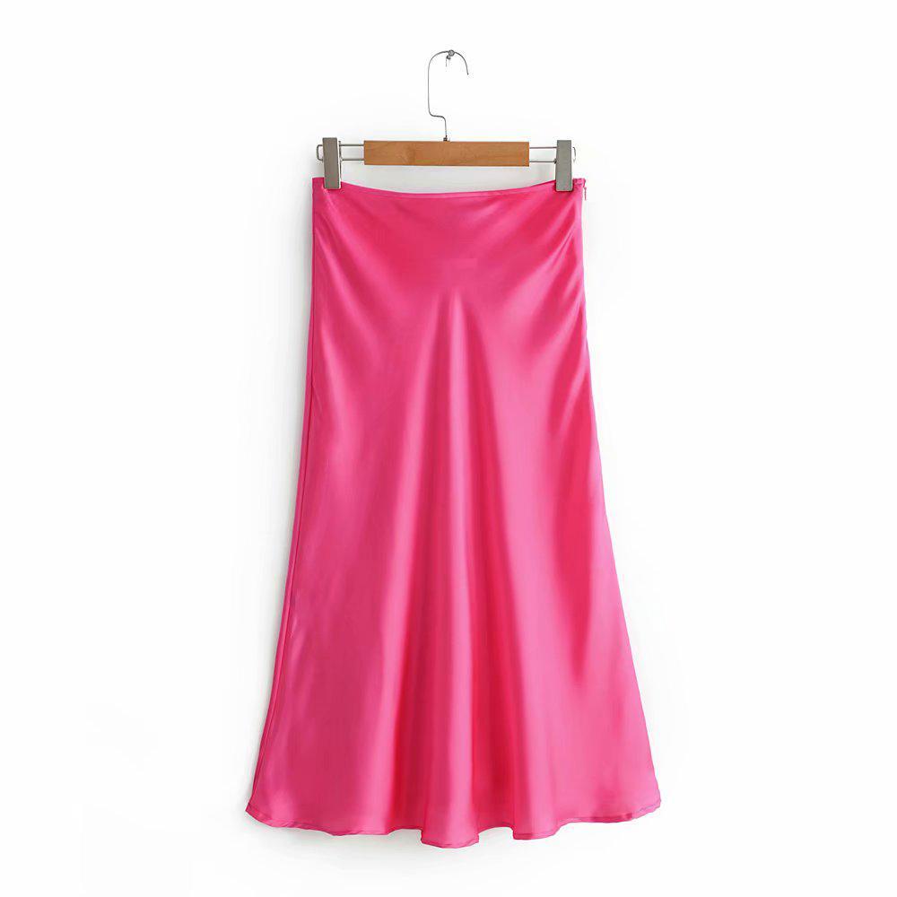 2d95eafc1 2019 Mujeres Casual Seda Satén Amarillo Falda Roja Mujer Primavera-Verano  Chic Una línea Suave Sólido Faldas largas faldas mujer moda