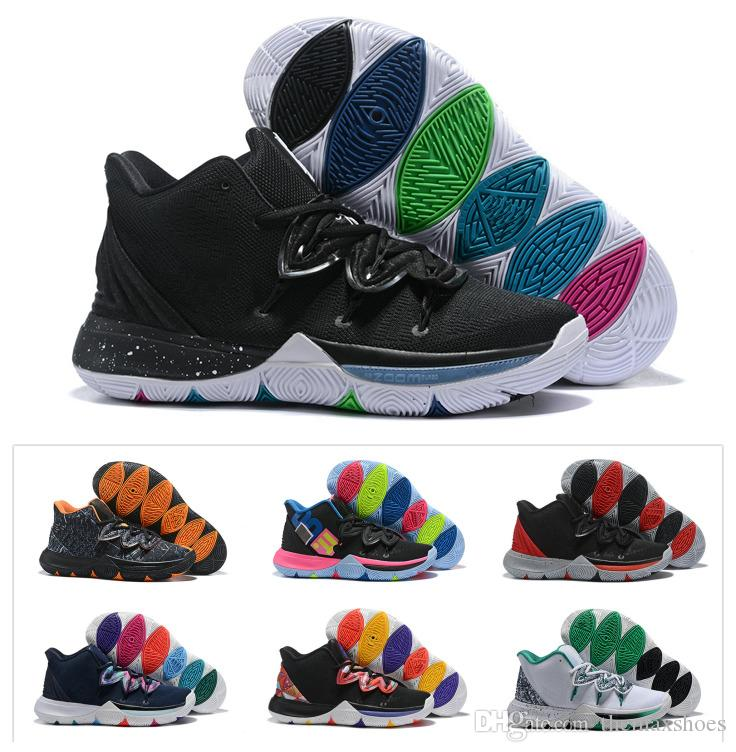 sports shoes fe1fc 31faa New Boys Kids Kyrie V 5 Black Magic Basketball Shoes Irving 5S Youth Girls  Women Zoom Sport Training Sneakers High Ankle Size 4Y 7Y Kevin Durant  Basketball ...