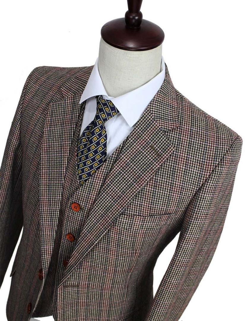 Wool Brown Classic Tweed custom made slim fit mens 3 piece suits gentleman  style tailor wedding party dresses suits for men