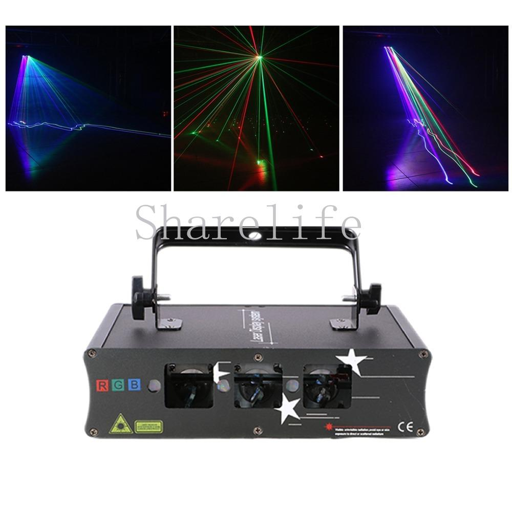 Sharelife 3 Lens Red Green Blue Color DMX Beam Laser Scanning Light Home  Gig Party DJ Projector Stage Lighting Sound Auto H-Q6