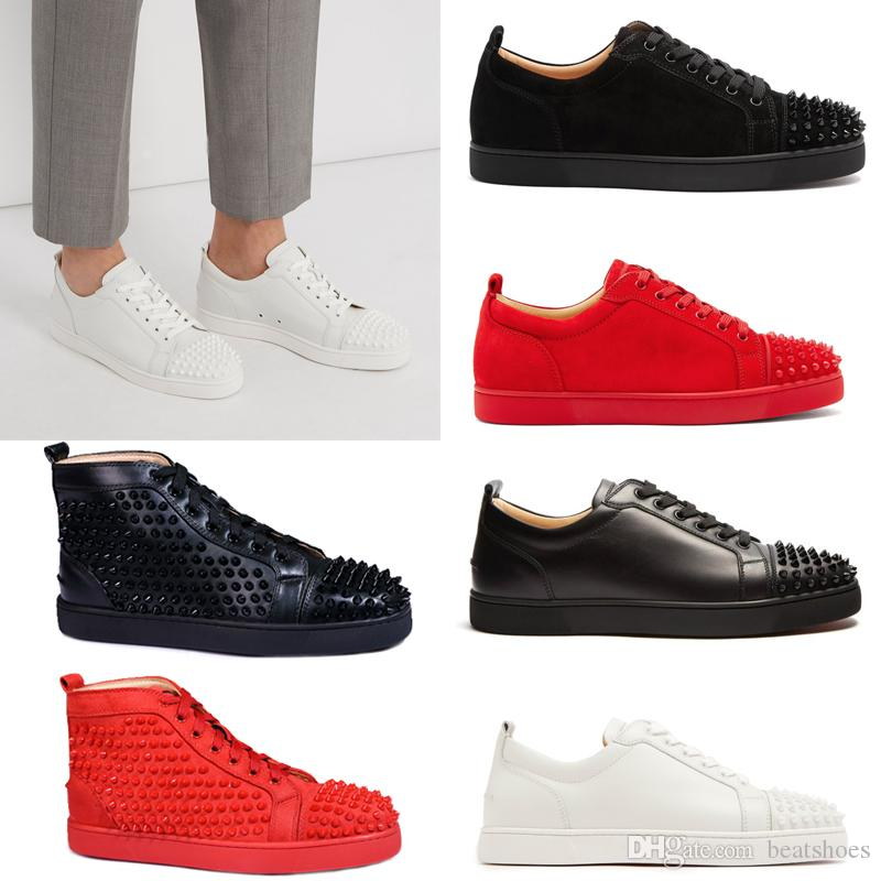 big sale 4cf0d b36f3 Luxury Sneaker Studded Spikes men trainers Red Bottom Shoes Designer Brand  Flats 100% Genuine Leather For Men And Women Lovers US 5-12
