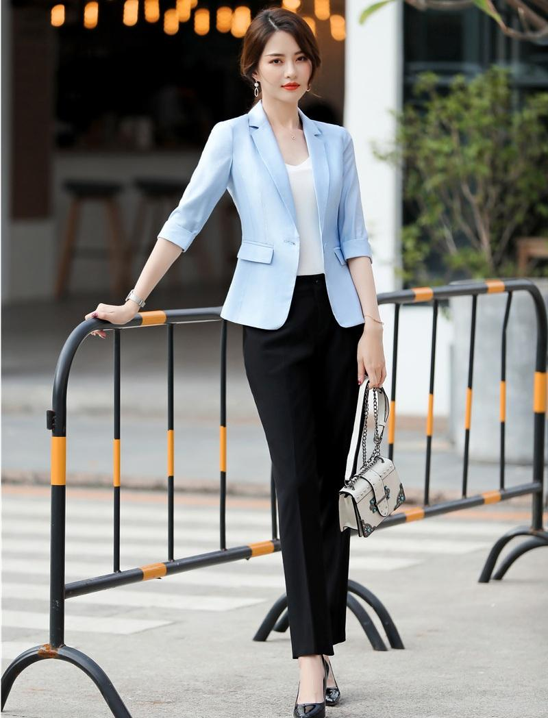 be51fcf7cd35 2019 Spring Summer Formal Ladies Sky Blue Blazer Women Business Suits With  Pant And Jacket Sets Work Wear Office Uniform Styles From Wenshicu, ...