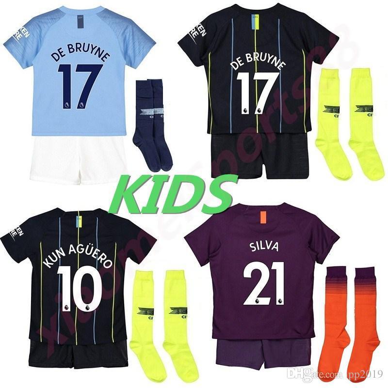cf01e3125 2019 18 19 Manchester City Kids Soccer Jerseys 2018 KUN AGUERO Kids Kit  SILVA STERLING DE BRUYNE Children Football Uniform G.JESUS MAHREZ Youth From  Pp2019