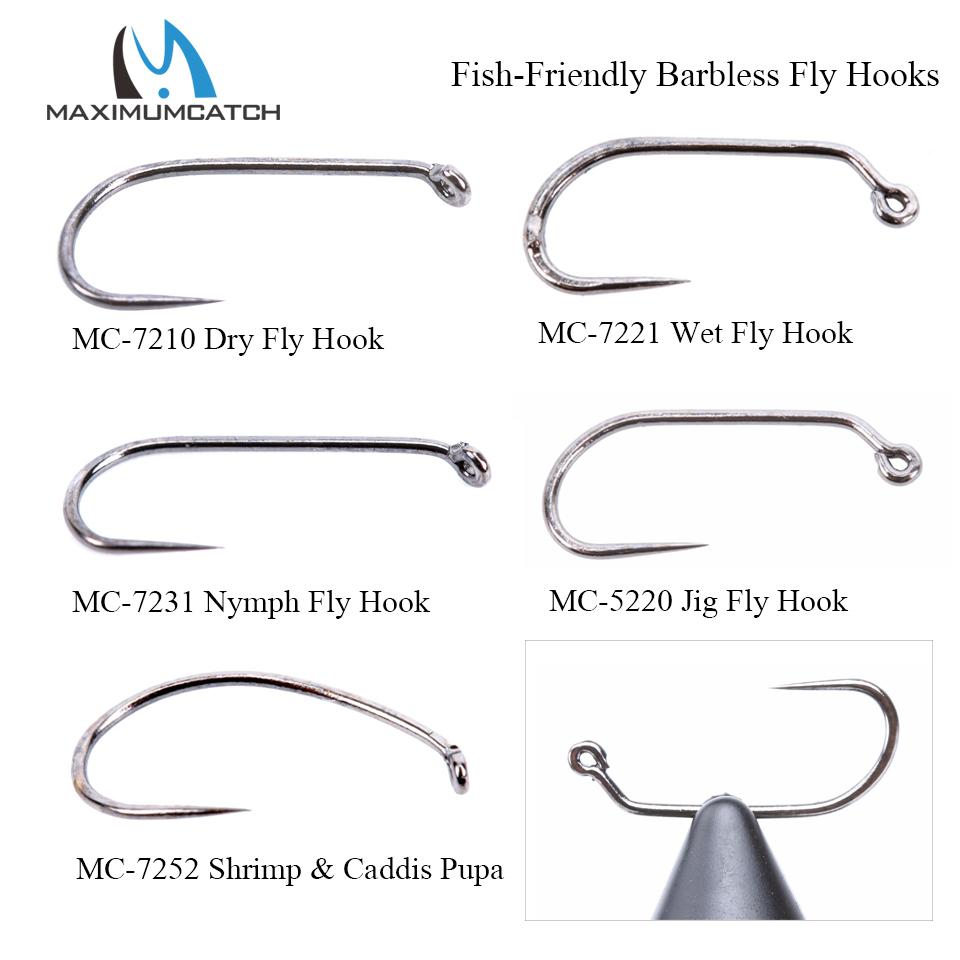 ishing Fishhooks Maximumcatch 100pcs 10#12#14#16#18# Fish-Friendly Barbless Fly Tying Hooks Dry&Wet&Nymph&Shrimp Caddis Pupa Jig Fishing ...