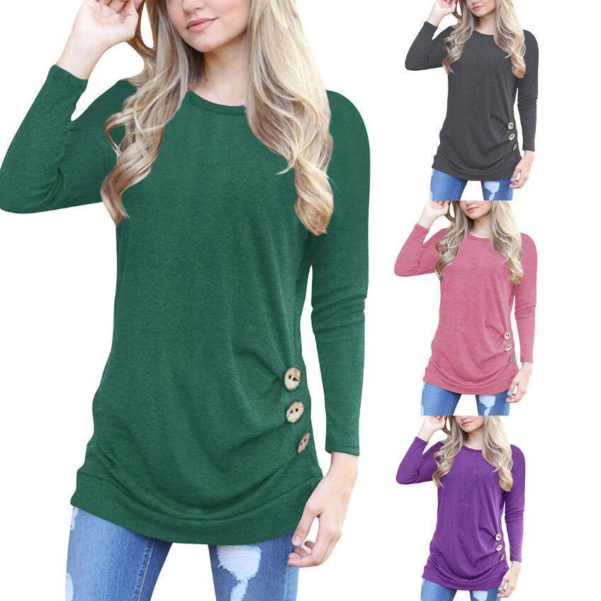 4e2abdf1fe8f7 Acquista Primavera Estate 2019 Moda Casual T Shirt Donna O Collo Manica  Lunga Design A Bottoni Camicia Lunga Taglie Forti Abbigliamento Donna Top  Lavorato A ...