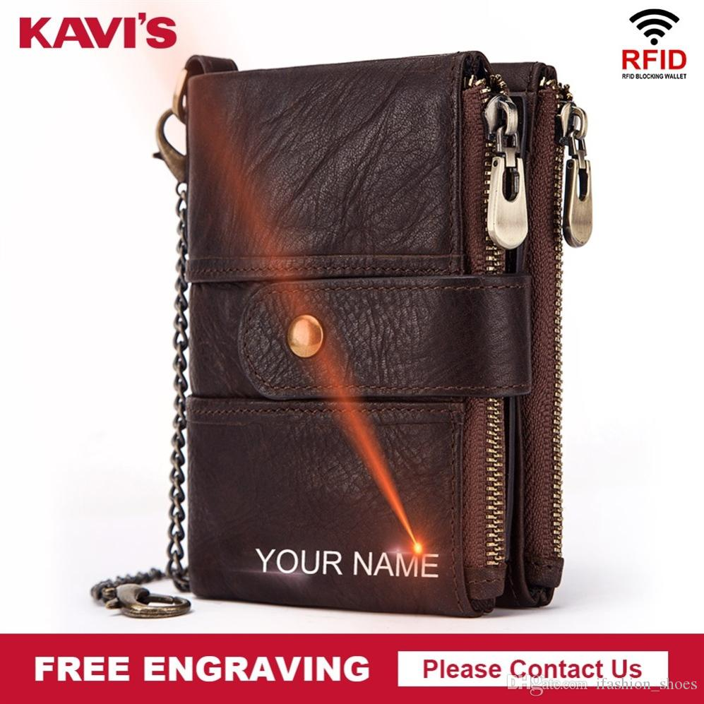 KAVIS Genuine Leather Free Engraving Rfid Wallet Men Crazy Horse Wallets Coin Purse Short Male Money Bag Mini Walet Quality #125072