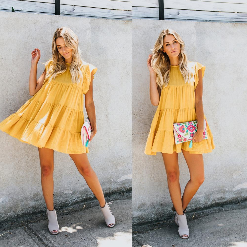 58aab9a4725f New Women Cotton Dresses Preppy Style Stright Patchwork Solid Yellow ...