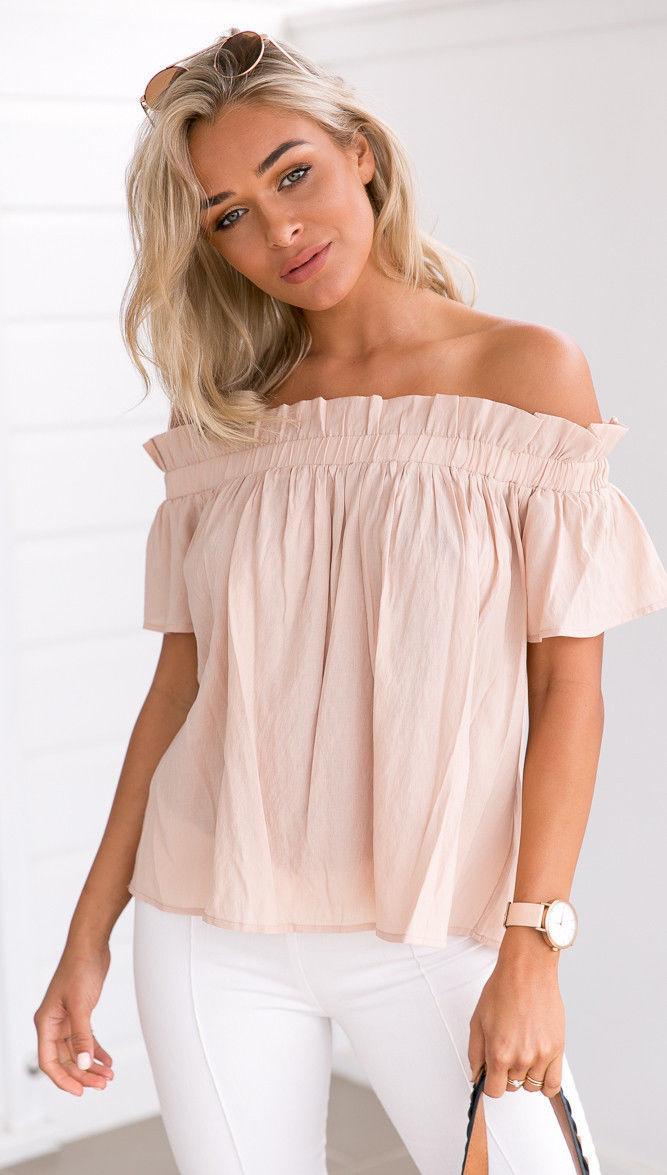 2017 Hot Sexy Off-Schulter-T-Shirts Art und Weise Süßigkeit-Farben-Frauen Kurzarmhemden beiläufige weich Chiffon- Boho lose Oberseiten-T-Shirt