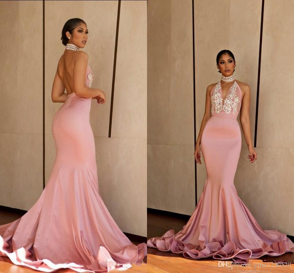 b8bcdd320b Arabic Blush Mermaid Evening Dresses Halter Backless Sweep Train Appliques  Beads vestidos de fiesta Special Occasion Dress Prom Party Gowns