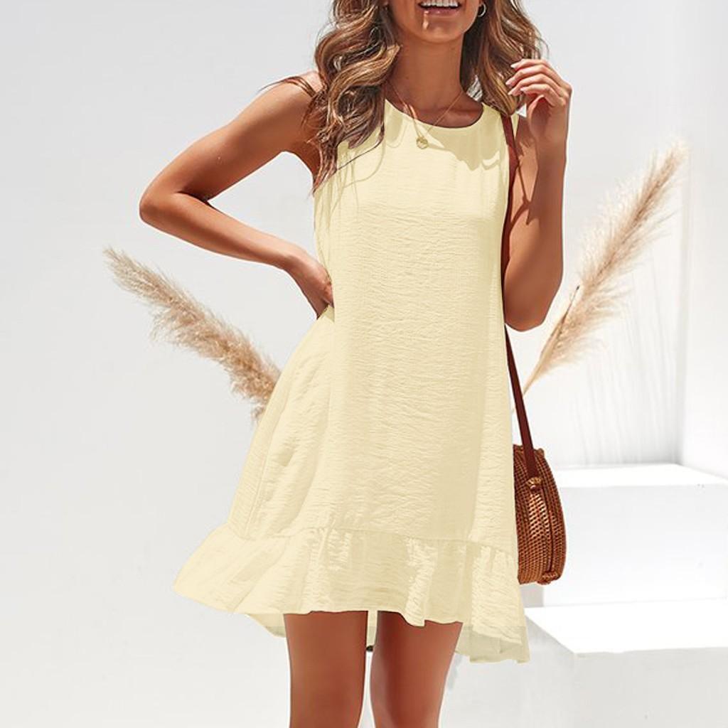 5ac425f7c45a Vestido sexy para mujer Moda Sin mangas Color sólido Casual Plisado Verano  flojo Mini vestido 2019 Vestidos de fiesta Vestidos de playa NUEVO