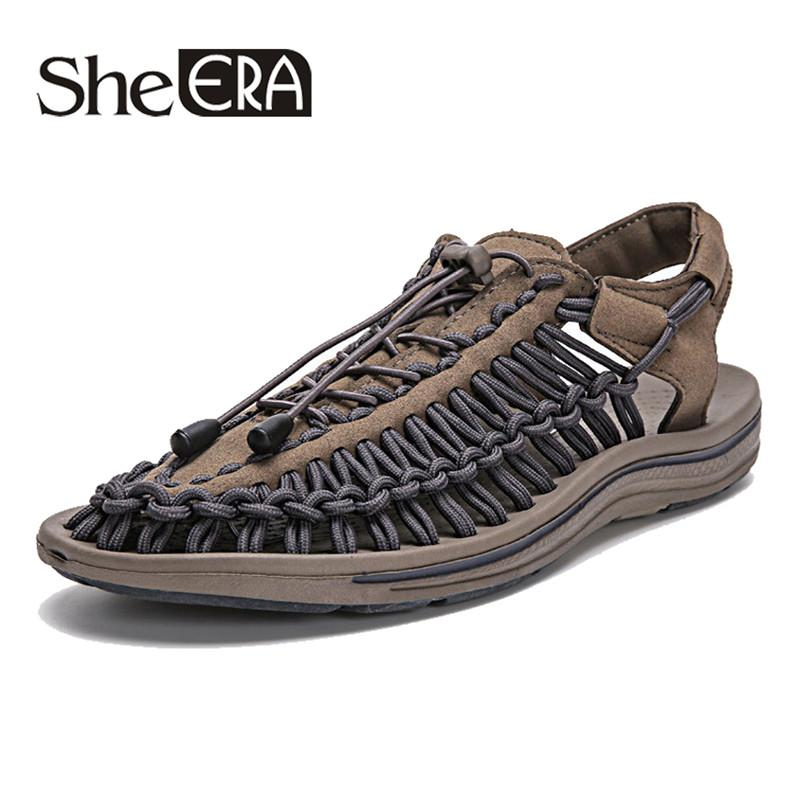 6ab5999cf40 New 2019 Summer Men Sandals Fashion Handmade Weaving Design Breathable  Casual Beach Shoes Unique Brand Sandals For Men Shoes For Sale Womens  Loafers From ...