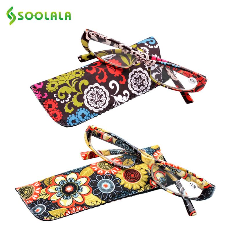 c24f85b0af4a SOOLALA Printed Reading Glasses Spring Hinge Rectangular Presbyopic Reading  Glasses W  Matching Pouch +1.0 1.5 1.75 2.25 To 4.0 C18122501 Running  Sunglasses ...