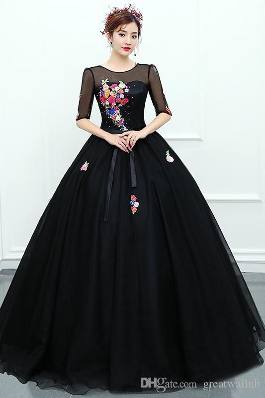 204d2fc2a0 Freeship Luxury Flowers Embroidery Black Princess Ball Gown Long Dress  Medieval Renaissance Gown Royal Victoria Dress Costumes For Large Groups  Team Costume ...