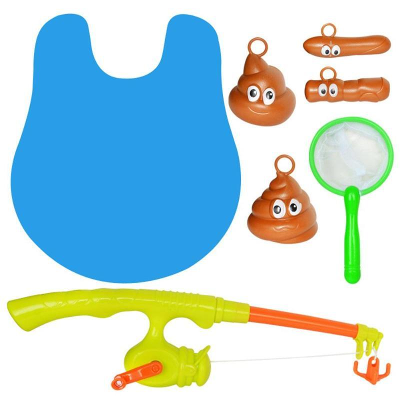 Bathroom Fishing Game Biological Cognitive Gaming Toys Set with Rod Net