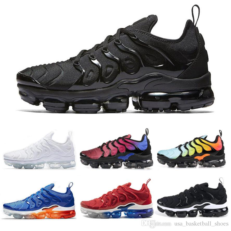 brand new 784e8 3edb7 TN Plus Running Shoes For Men Women Sneakers Designer Mens Trainers PURE  PLATINUM Triple Black White USA Hyper Violet Breathable Sports Shoe Sale Shoes  Men ...