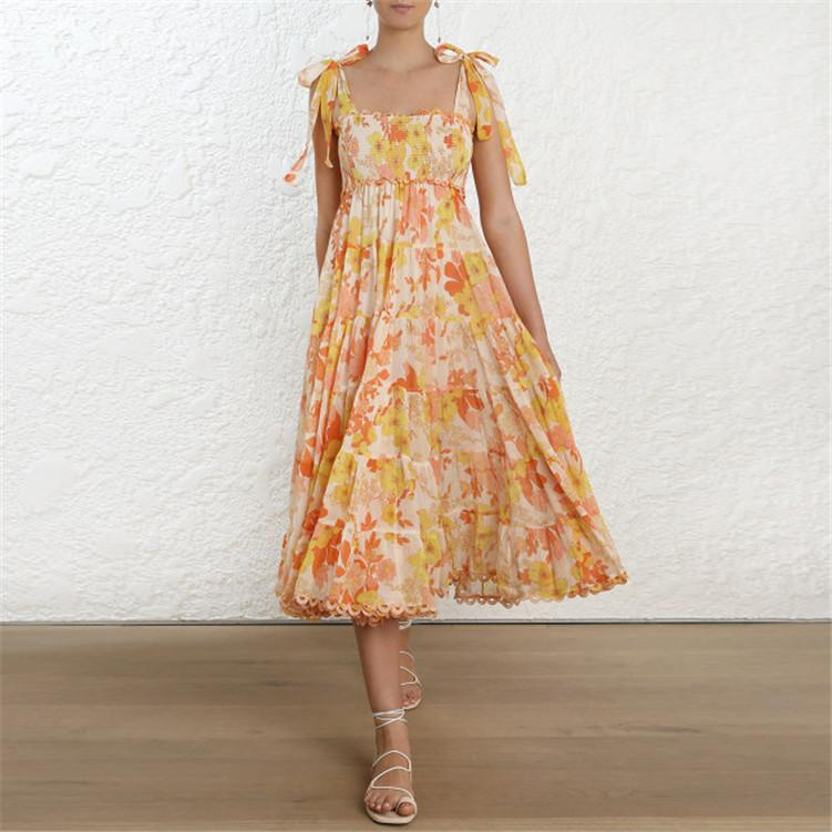 3bcf8ee090acc 2019 Summer Floral Print Spaghetti Strap Boho Dress Chic Women Holiday  Vocation Dress Bohemian Beach Long Vestidos