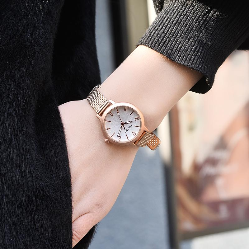 Unique Small Dial Small Ladies Watches Women Leather Strap Quartz Watches Rose Gold Female Watch Montre Femme