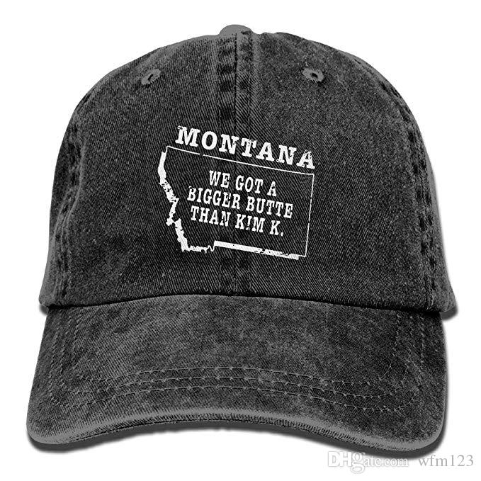 2019 New Cheap Baseball Caps Mens Cotton Washed Twill Baseball Cap Montana  State Bigger Butte Than Kim K Hat