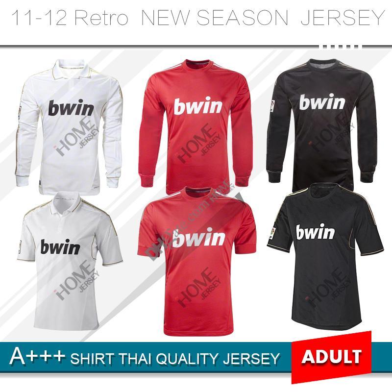 2011 2012 Real Madrid Long Retro Soccer Jersey 11 12 Real Madrid Retro  Version Football Shirt KAKA HIGUAIN RONALDO ZIDANE Soccer Jerseys KAKA  RONALDO Retro ... 6413eec2b36fa
