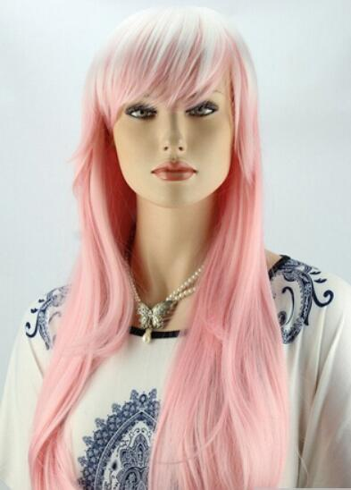 Women Long Curly Pink And White Hair Anime Cosplay Wigs Full Wig