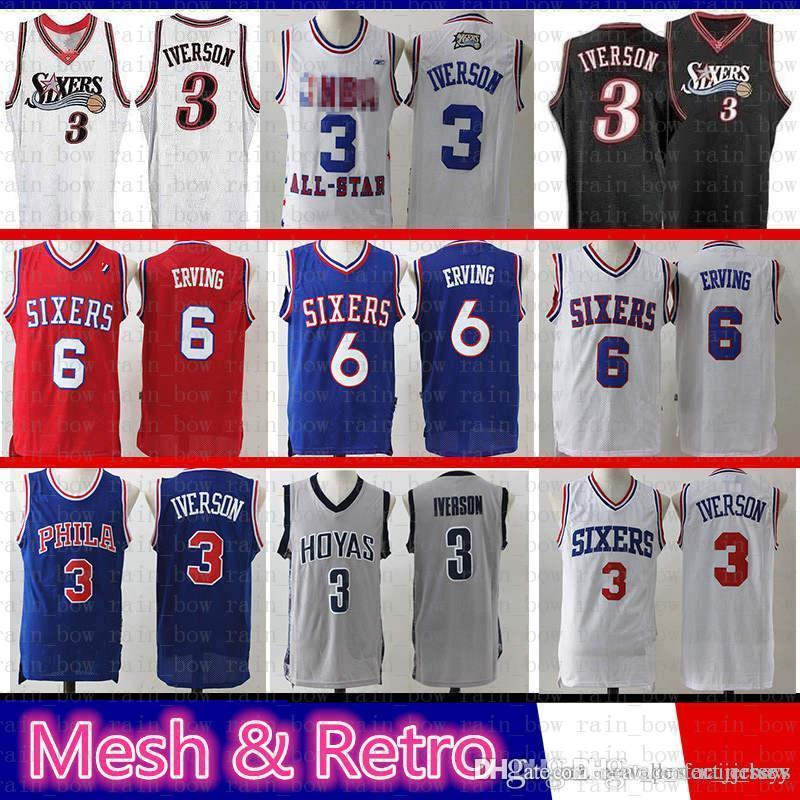 the latest dda25 1ee6b Mens Julius 6 Erving Allen Basketball Jerseys 3 Iverson Georgetown Mesh  Retro University Jersey Blue White Red