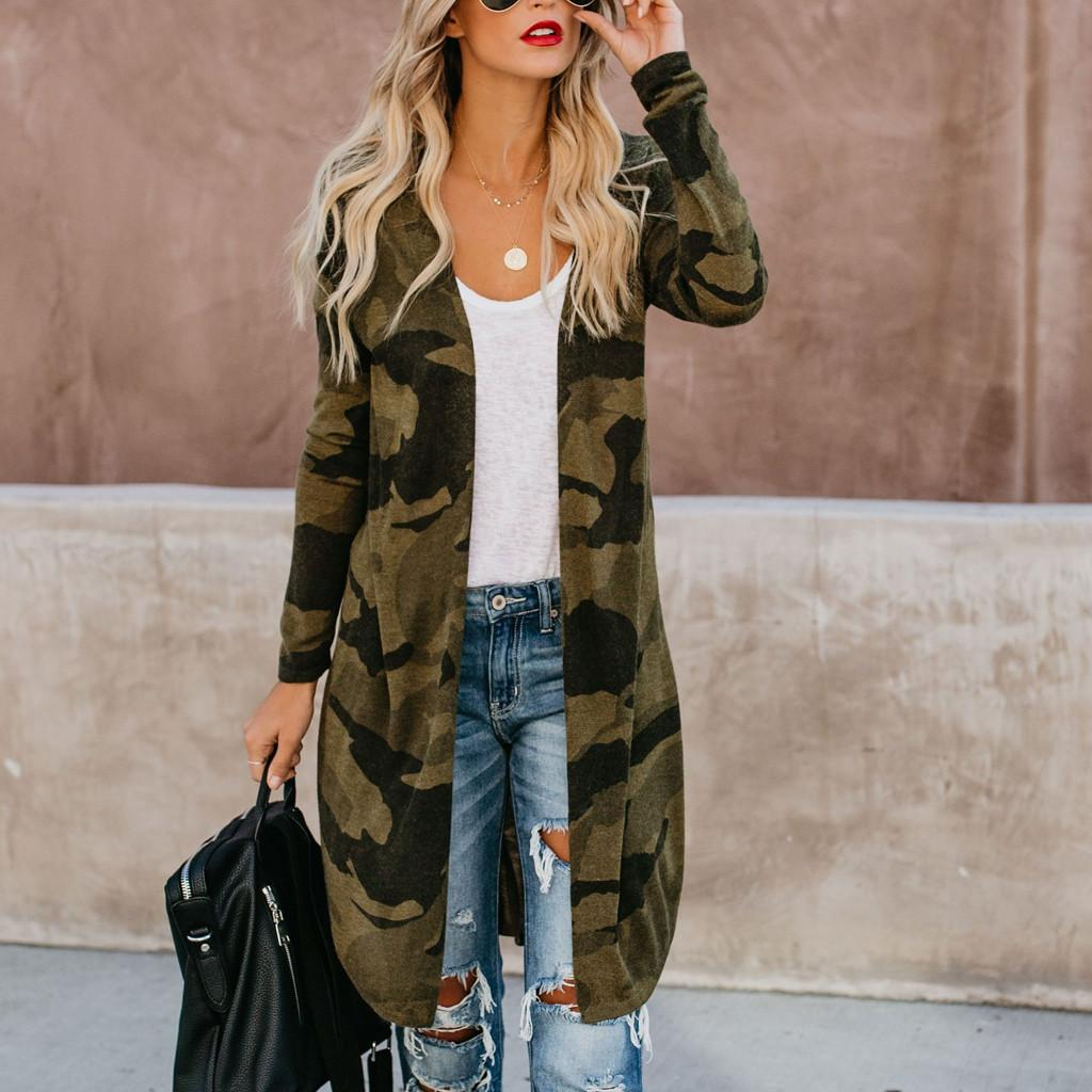 finest selection 65a31 9b06f Cardigan donna Giacca sottile Camouflage Stampa manica lunga Slim Joker  Giacca donna lungo blusa Camouflage Cappotto Capispalla