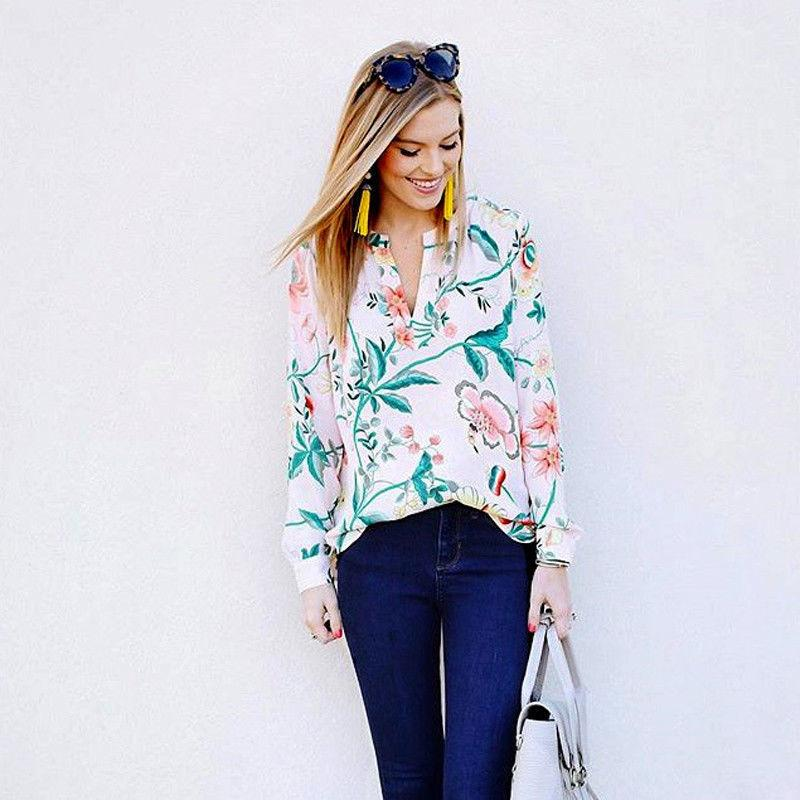 71b97ce4ae1 New Fashion Women Long Sleeve Autumn Shirt V Neck Loose Casual Floral Blouse  Chiffon Summer Tops S-XL Online with  34.66 Piece on Jamie08 s Store