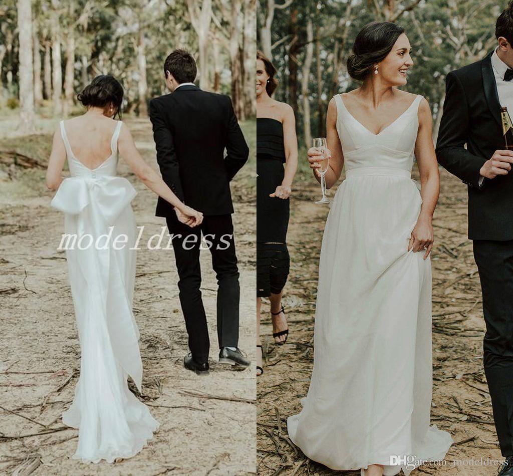 1d9e19320e Plain Beach Wedding Dresses V Neck Backless Sweep Train Bow Garden Beach  Country Bohemian Bridal Gowns Plus Size vestido de novia 2019