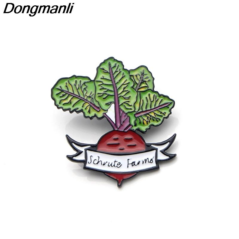 P3551 Dongmanli The Office TV Show Schrute Farms Metal Enamel Pins and Brooches for Fashion Lapel Pin Backpack Bags Badge Gifts