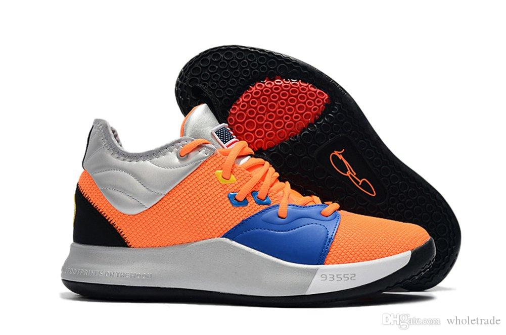 quality design 06ea1 fe648 High Quality Athletic Mens PG 3 NASA Total Orange Black Metallic Silver  Basketbal Shoes Man Paul George 3 Nasa Sneakers For Sale Size 7 13 Track  Shoes Best ...